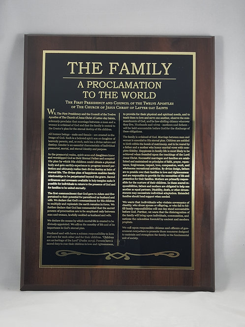 """""""The Family: A Proclamation to the World"""" gold etched plaque"""