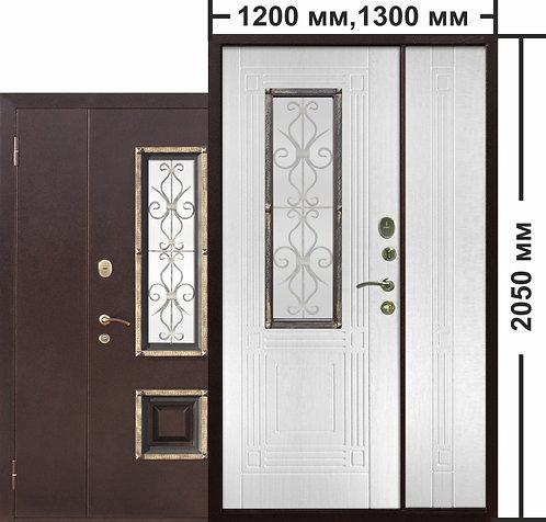 Венеция двуствочатая Белый ясень со стеклопакетом дверь входная металлическая