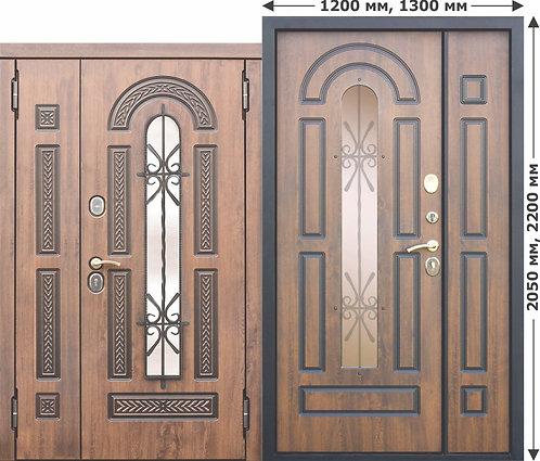 Vikont 1200/1300х2050/2200 Входная металлическая дверь со стеклопакетом и ковкой