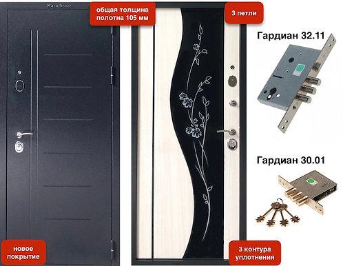 Модель VD-105 105мм Букле черный / Бьянко / Триплекс  3 контура