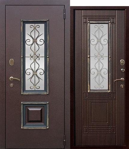 Венеция Венге со стеклопакетом дверь входная металлическая