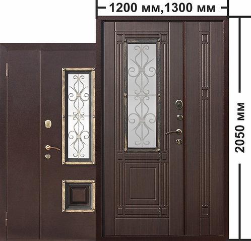 Венеция двуствочатая Венге со стеклопакетом дверь входная металличес