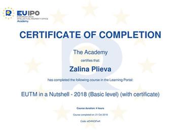 Окончен курс Европейского патентного ведомства (EUIPO)