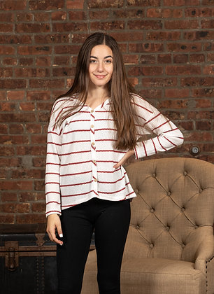 Long Sleeve Striped Waffle With Button Details
