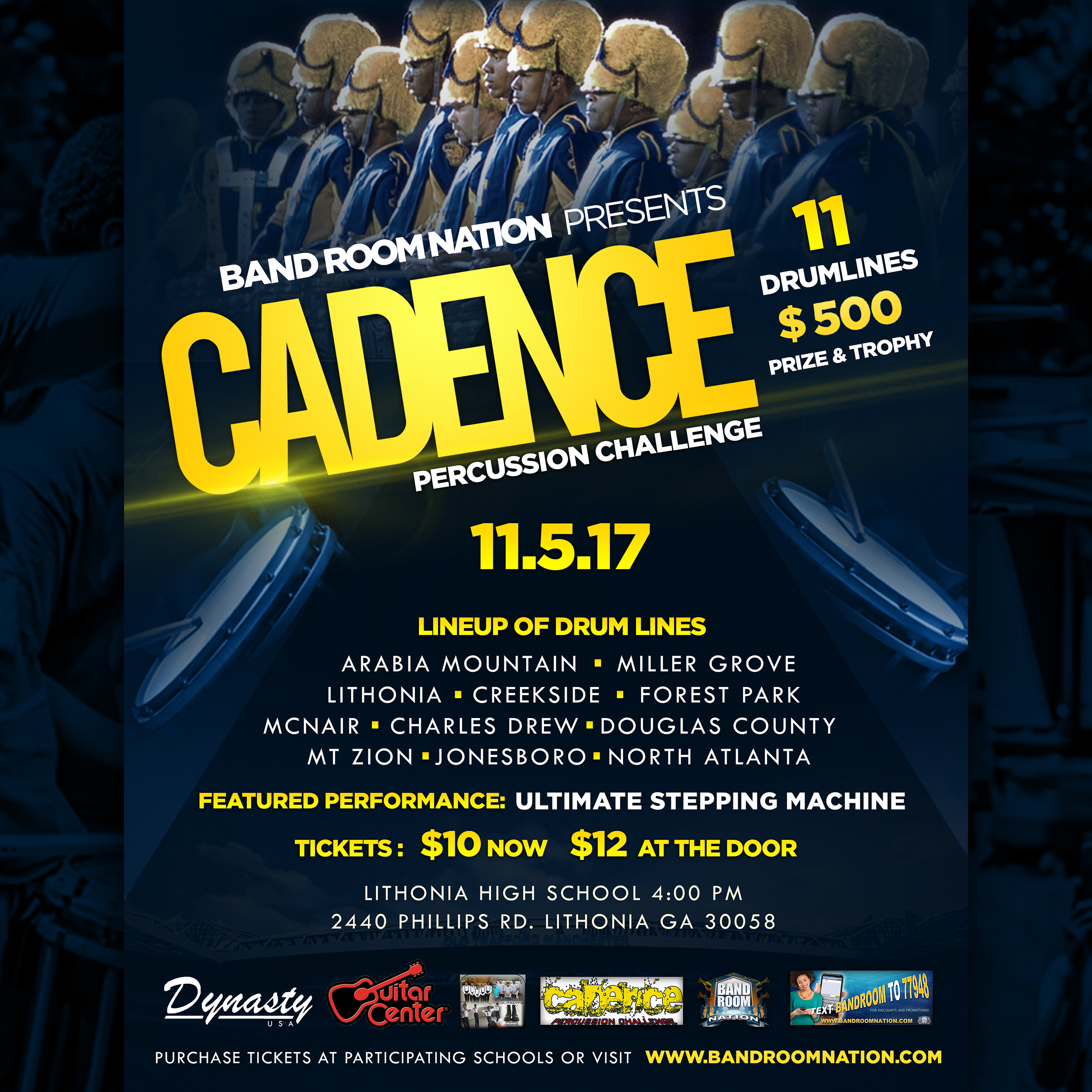 FOR SOCIAL MEDIA Band Room Nation 2017 Cadence Percussion Challenge Official Flyer