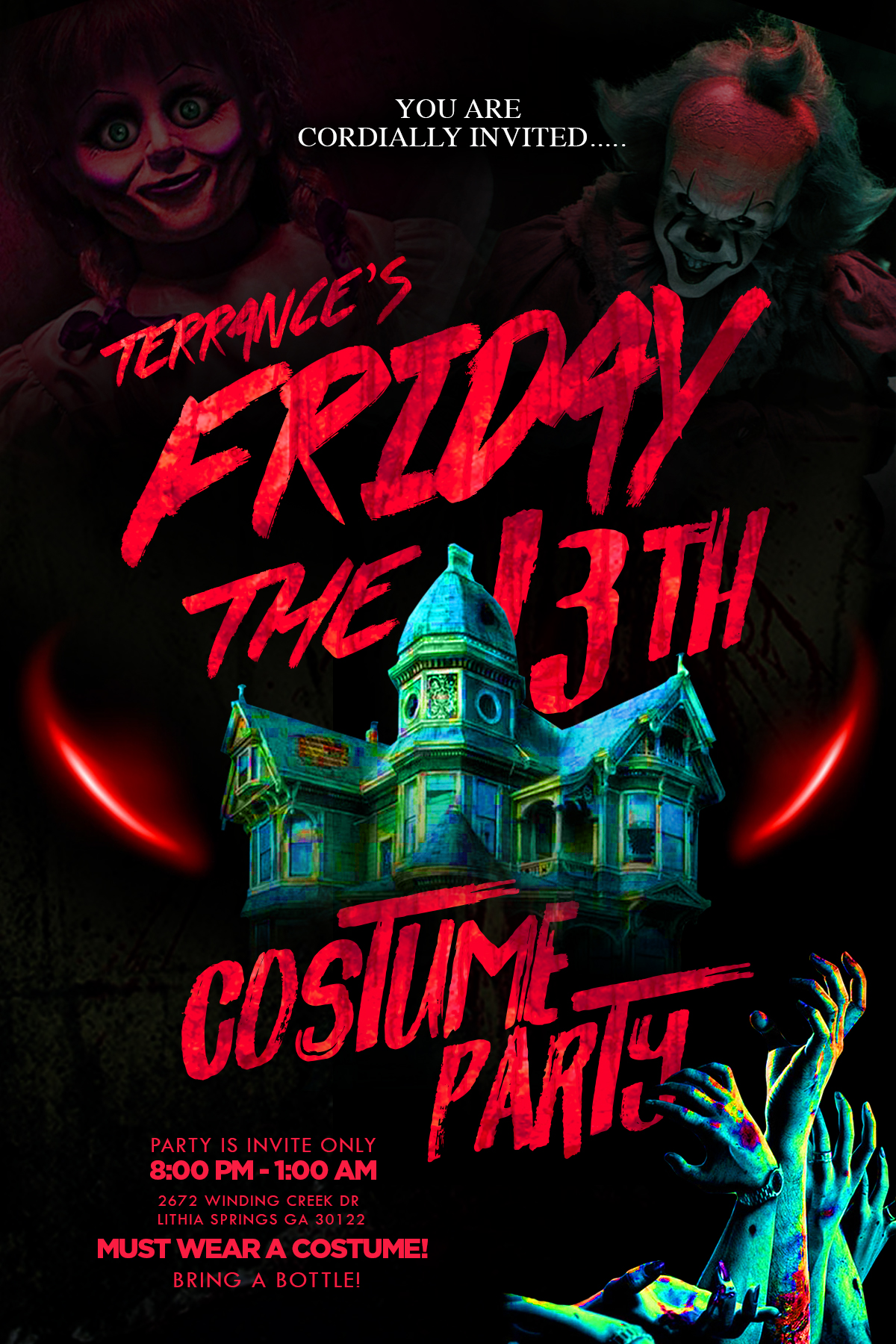 Terrance Friday the 13th Birthday Party Flyer Invitation