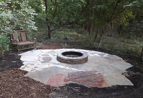 Natural Edge Flagstone Patio with Fire Pit