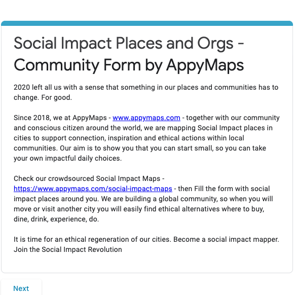 Contribute to our Social Impact maps