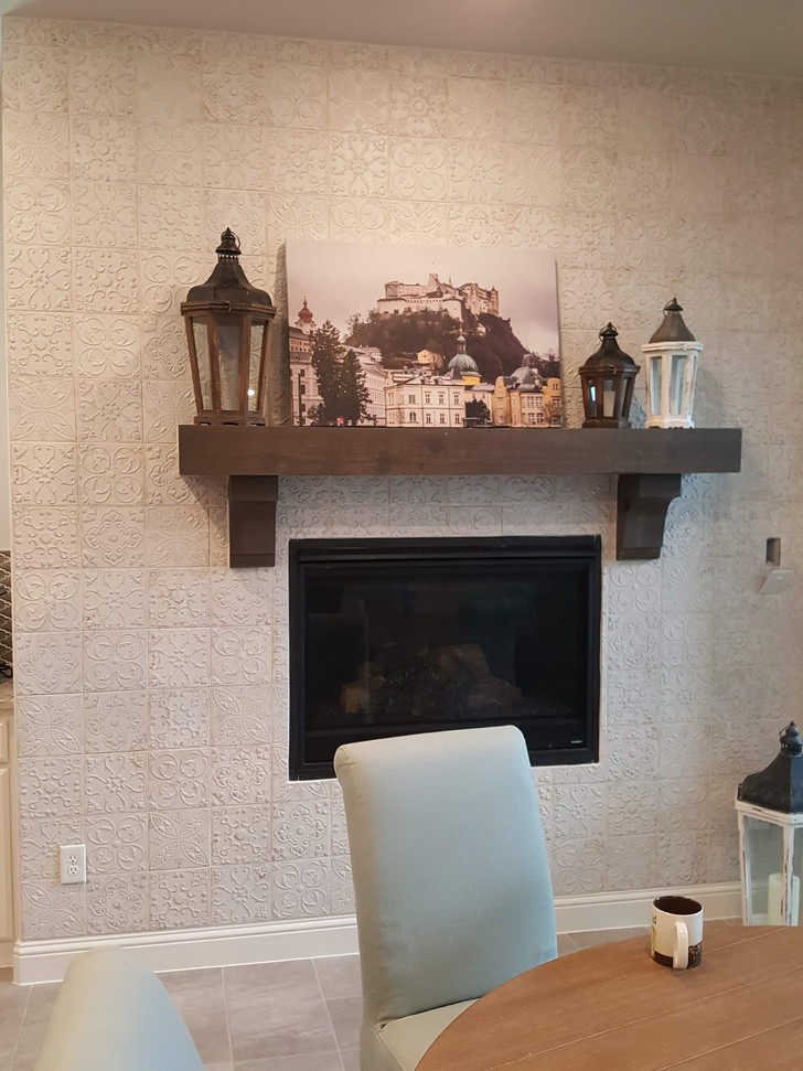 Beautiful tile around the fireplace.  Really brought character to the room.
