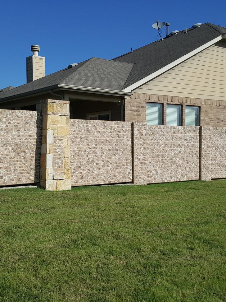 Screening Wall with Stone Columnlumns