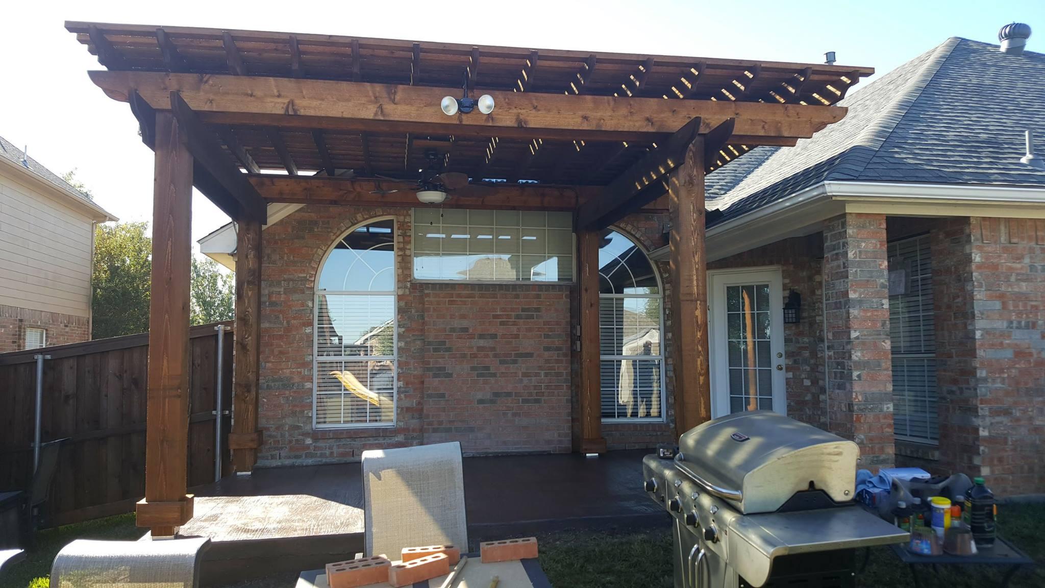 Concrete patio extension and pergola