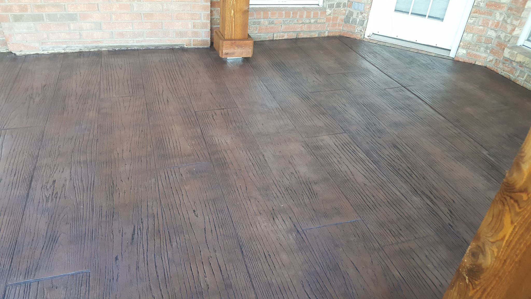 Wood stamped and stained concrete