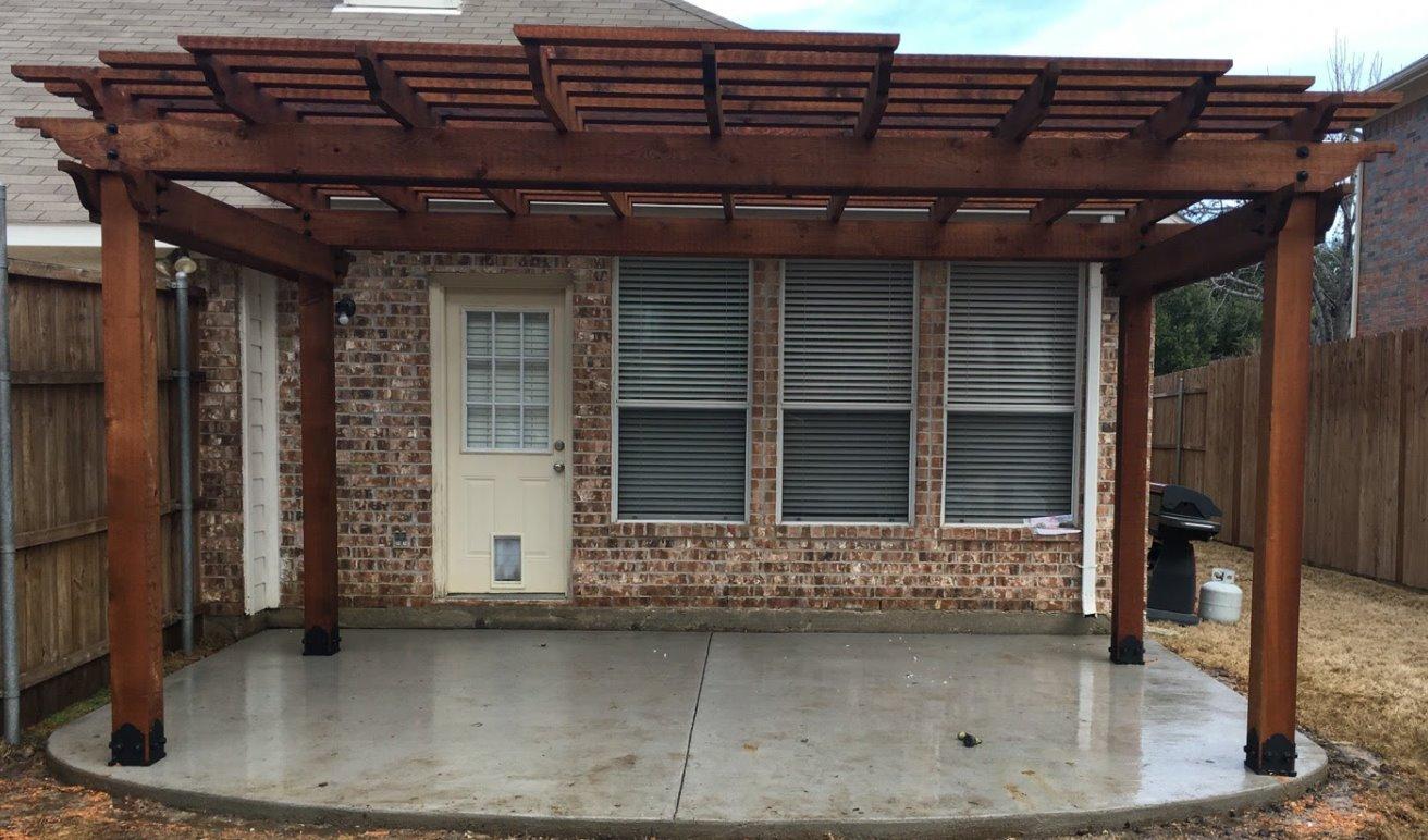 Concrete patio and pergola