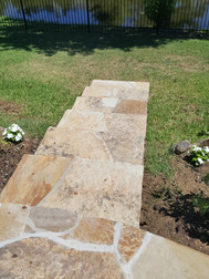 Flagstone sidewalk & steps extension.  Stone is still wet from washing.  Always a great feeling knowing we matched the original stones perfectly.