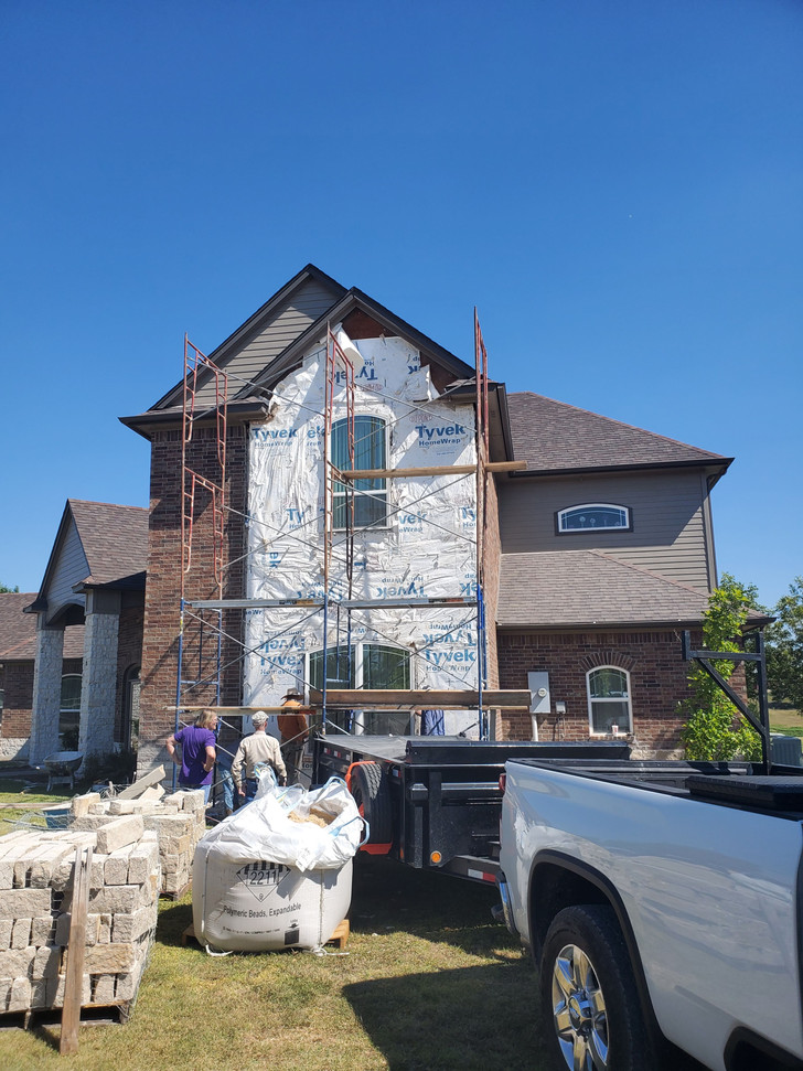 Original stone was deteriorated and crumbling.  All has been removed and now staging to install new Leuders stone in its place.