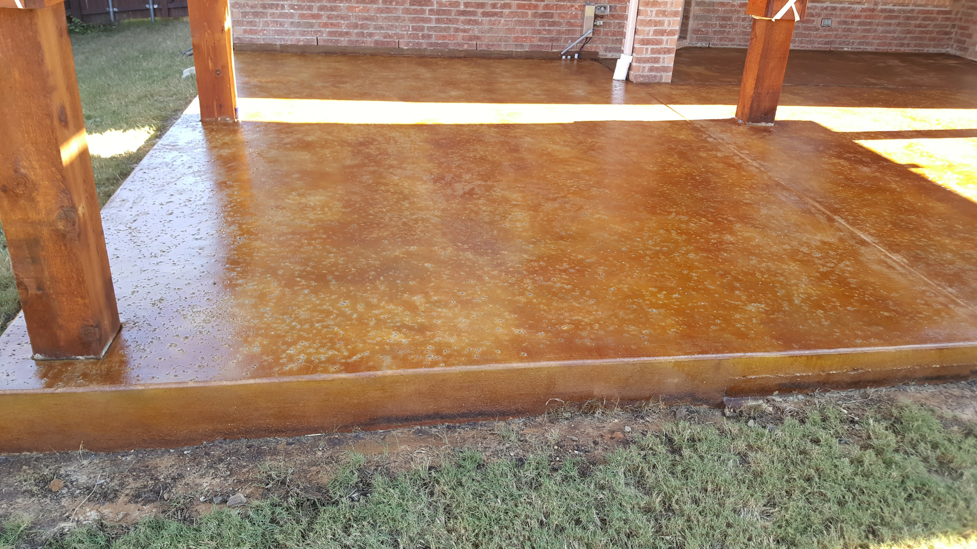 Stained and sealed concrete with salt finish