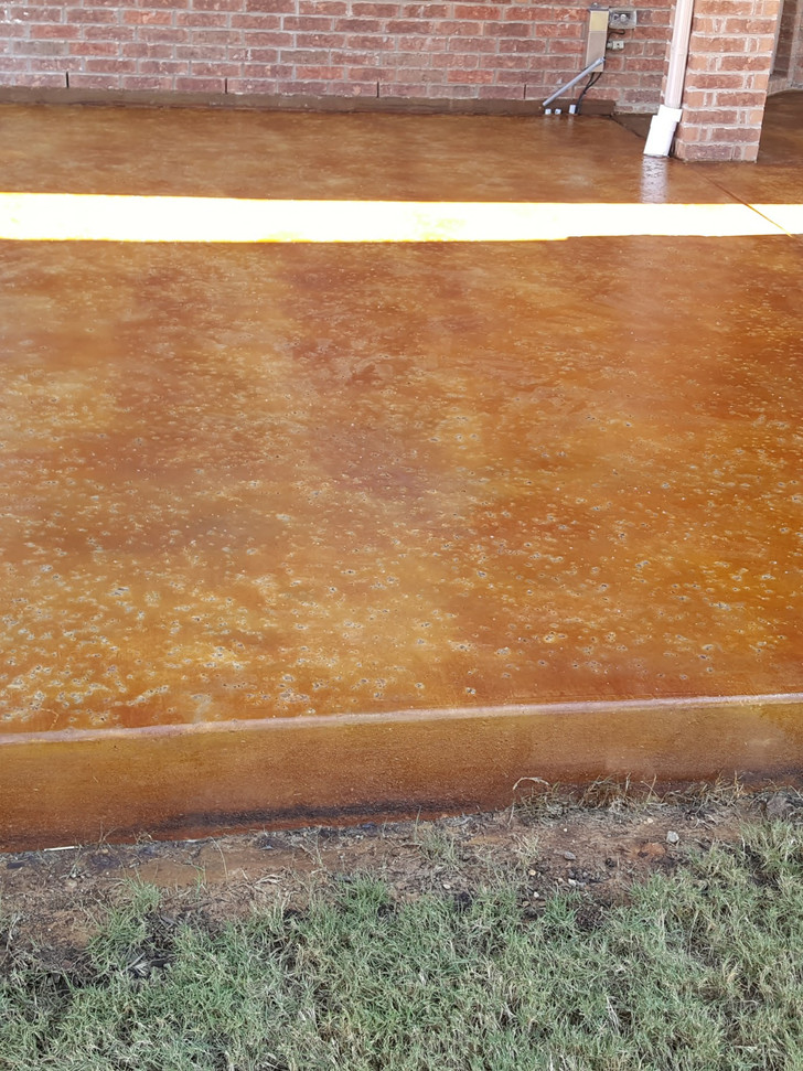 New slab with salt finish, stain and sealer to brind this backyard to life.