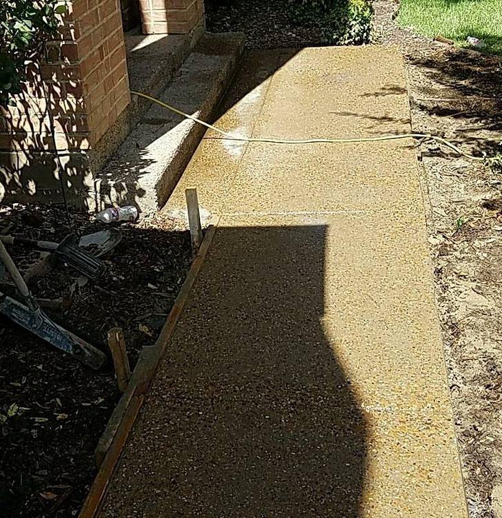 Exposed aggregate concrete sidewalk