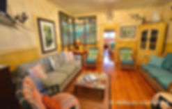 Main House living room at Historic Shadow Point beach vacation rental house in Key Largo, Fl.