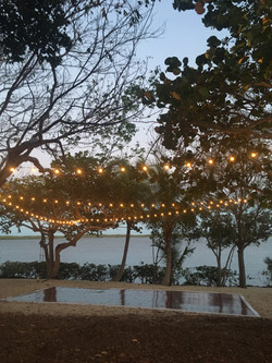 Dance floor set up by the water