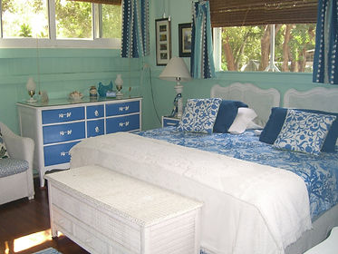 One of 4 bedrooms in the main house at Historic Shadow Point Beach House in Key Largo, Fl.