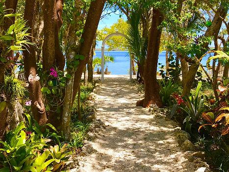 Wedding walkway to water