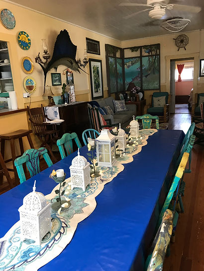 Main Hous dining room at Historic Shadow Point beach house in Key Largo, Fl.