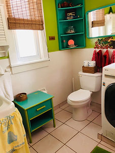 Cottage bathroom with washer and Dryer