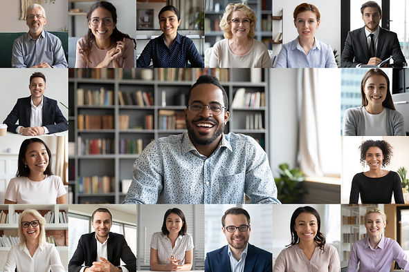 Many portraits faces of diverse young and aged people webcam view, while engaged in videoc