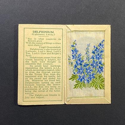 Delphinium - Silk Embroidery 1933 Cigarette Card