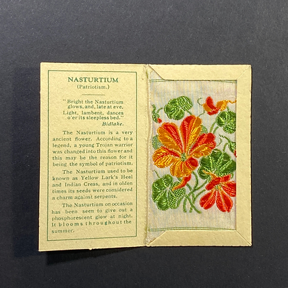 Nasturtium - Silk Embroidery 1933 Cigarette Card