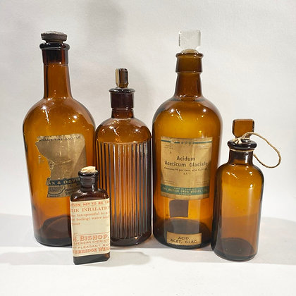 Collection of 5 Glass Pharmacy Bottles