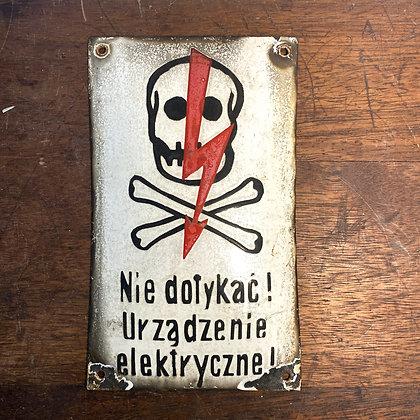 Danger of Electrocution Enamel Sign