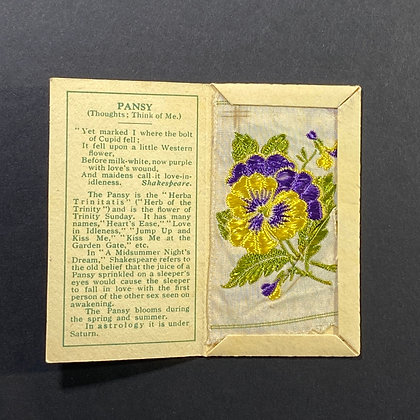Pansy - Silk Embroidery 1933 Cigarette Card