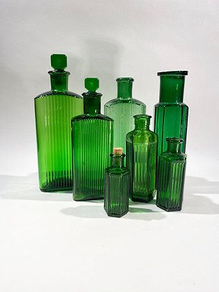 Collection of 7 Glass Pharmacy Bottles