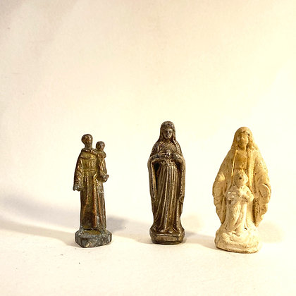 3 Small Metal/Plaster Religious Icons