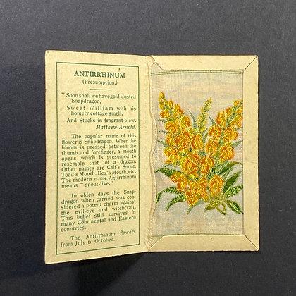 Antirrhinum - Silk Embroidery 1933 Cigarette Card