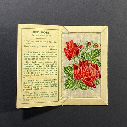 Red Rose - Silk Embroidery 1933 Cigarette Card