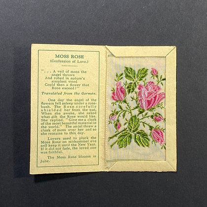 Moss Rose - Silk Embroidery 1933 Cigarette Card