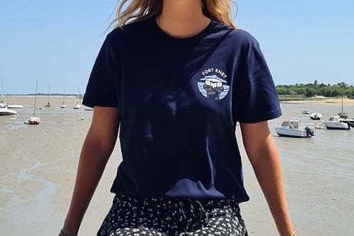T-Shirt Bleu Marine Unisexe Col Rond