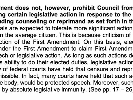 City Attorney's memo affirms that council rules do not 'run afoul' of First Amendment