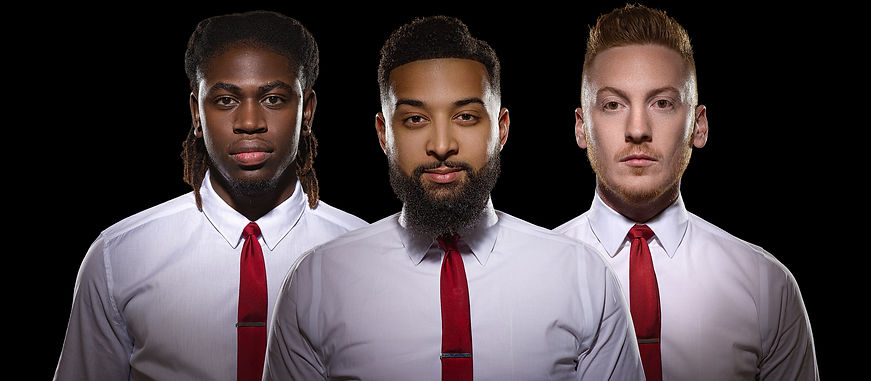 Radio Love Band head shots. Red tie, white collar shirt, and tie clips.