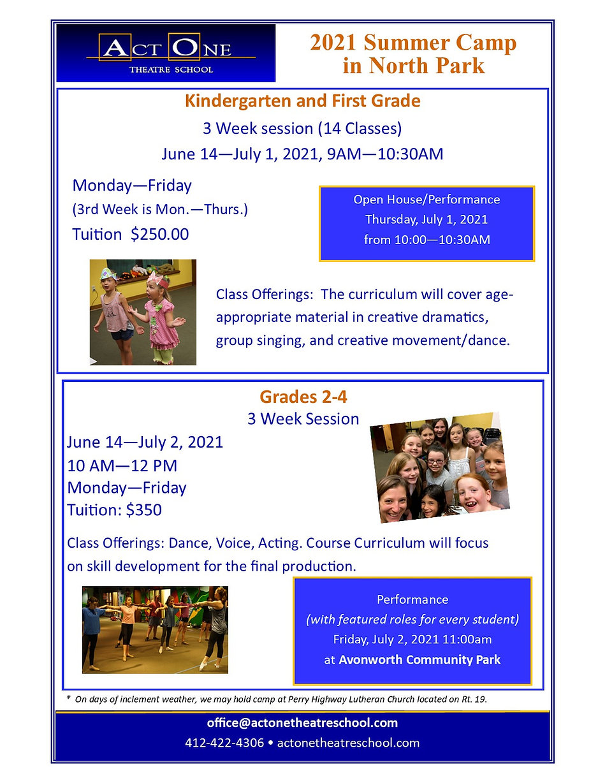 2nd-4th 2021 Online Summer Camp Brochure