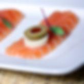 Sashimi style salmon