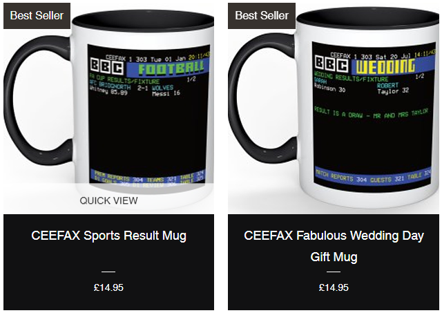 Awesome Unique CEEFAX Style Gifts