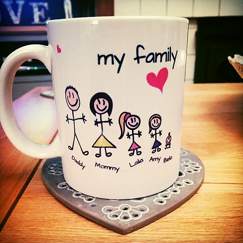 Exclusive Custom Hand Designed 'My Family' Mug
