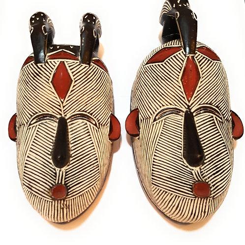 """12"""" - 13"""" African Wood Congo Songi Songe Songye Kwifibe Mask: Black and White"""