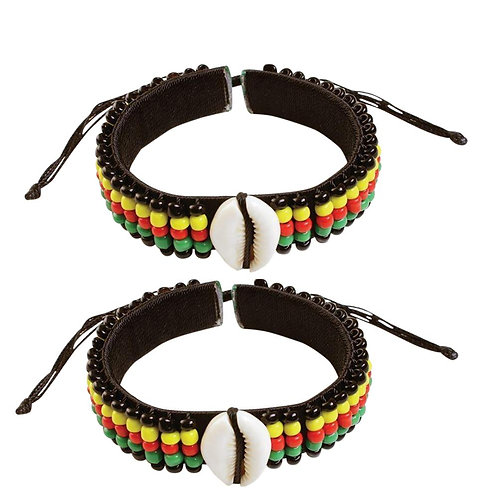 2 Pcs Jamaican Rasta Beads  Men / Women Beaded Tribal African Bracelet