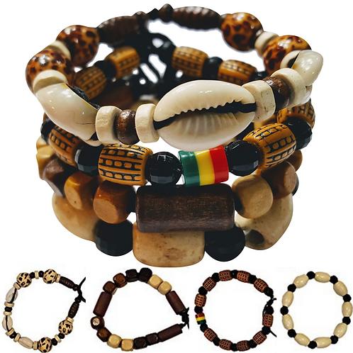 4 Pcs Bracelets for Men /Women Wooden Beaded Bracelets Tribal African Bracelets