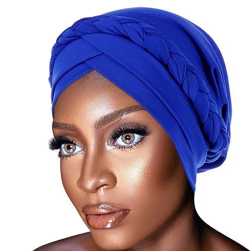 PRE-TIED African Turban  Braided Knot Bonnet / Beanie Cap Headwrap| Stretch Knit